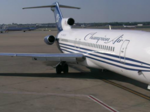 A Champion Air 727 sits at the gate (Photo by Aaron Lewis)