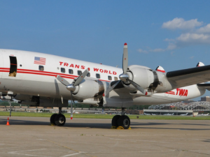 "A TWA Lockheed Constellation, affectionately named ""Connie."" It lives at the National Airline History Museum in Kansas City 