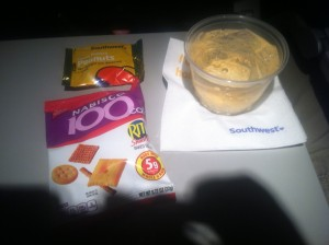Snack and drink options aboard the flight (photo by the author)