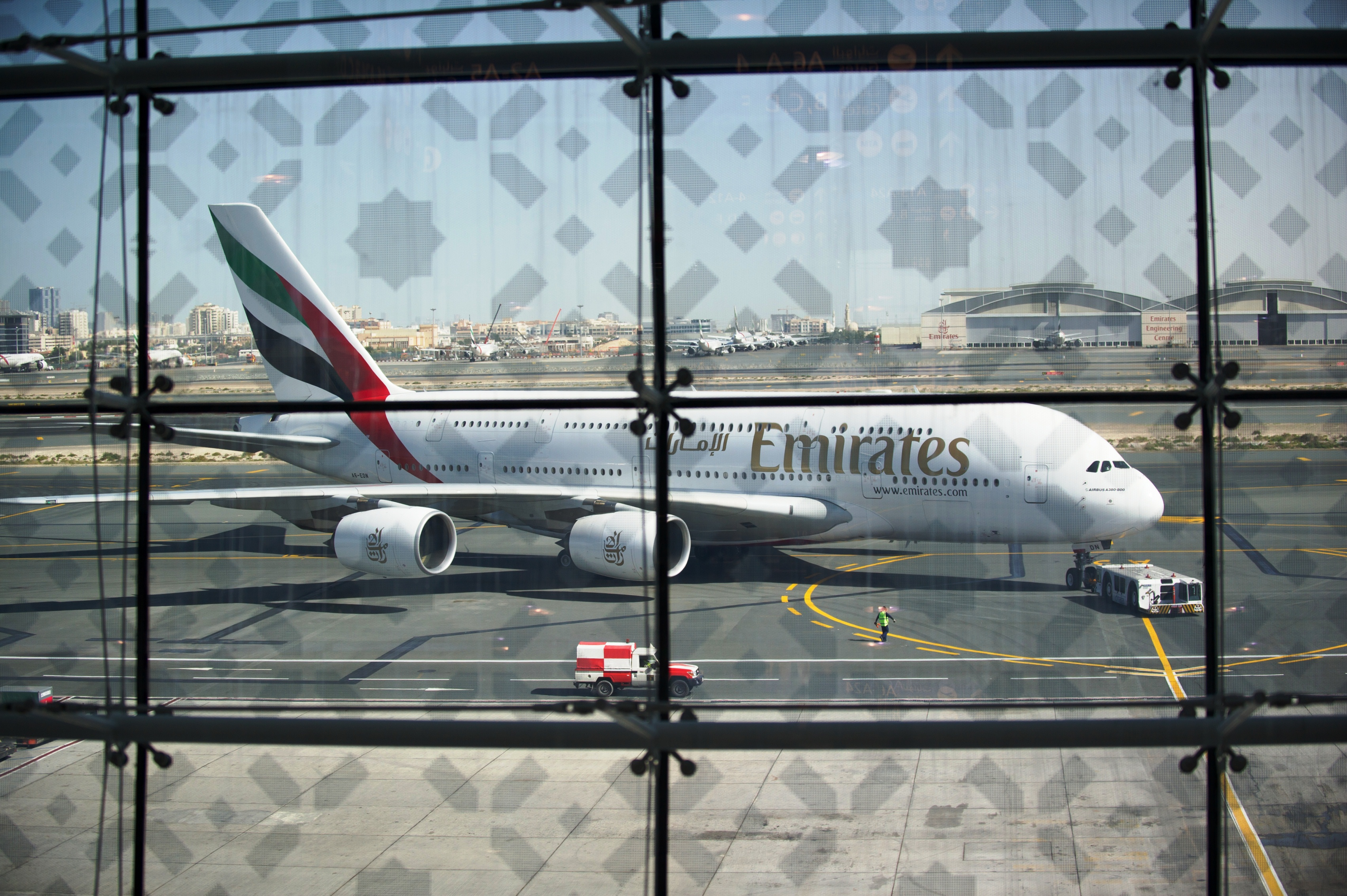 An Emirates A380 at DXB (Photo via Dubai Airport)