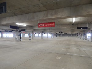 Avis preferred section of the garage, the lots are aligned as they appear inside the rental car kiosks