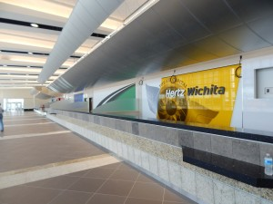 Wichita's rental car pick up is in the parking garage and offers nine different car companies