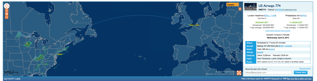 The flight info for flight 774 to PHL (Data via Flightaware)