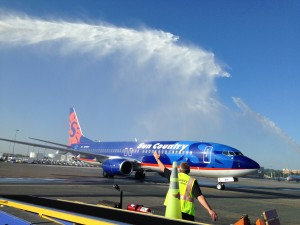 Veterans onboard a Sun Country Honor Flight receive a water canon salute upon arriving at DCA (Photo provided by Ryan Ewing)