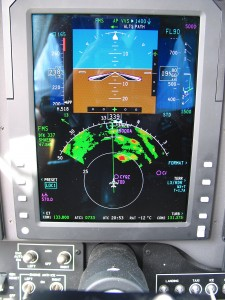 """Here's what your pilot might be looking at to determine their course of action.   """"Wx Radar"""" By Shawn from Airdrie, Canada  CC BY-SA 2.0"""
