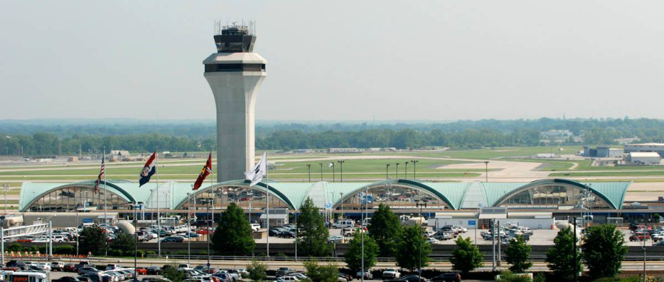 Lambert-St. Louis International Airport's FAA Control Tower, along with Terminal One before having it's copper roof replaced in 2014. | Photo provided by FlySTL.com.
