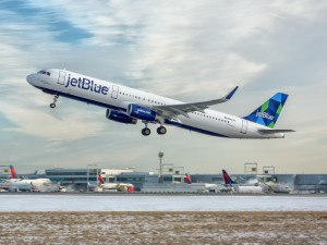 A Mintified JetBlue A321 blasts off the runway! PHOTO: Courtesy of JetBlue Airways