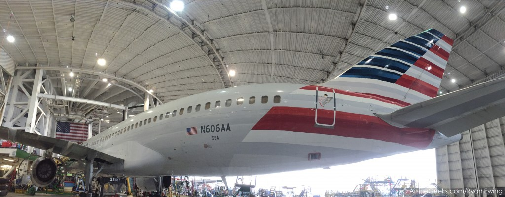A newly painted 757 in the facility