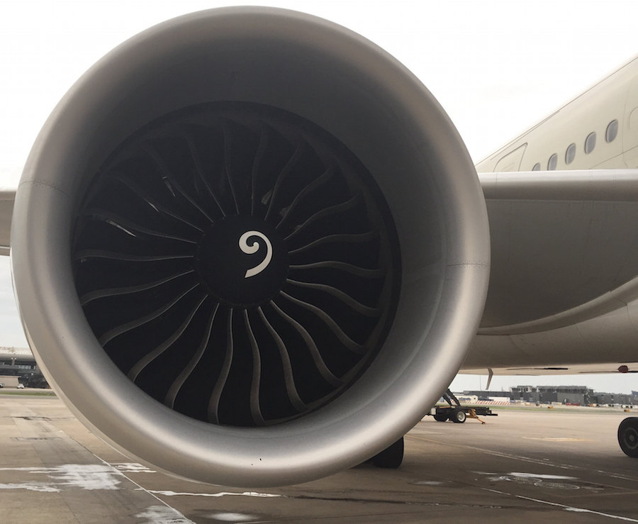 The GE90, the world's biggest jet engine in terms of circumference on the Saudia 777-300ER. This is the same engine that was on the British Airways 777 in Las Vegas.