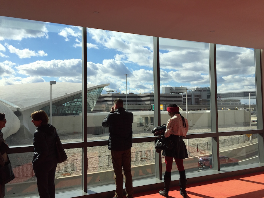 Looking out at the TWA Flight Center (Photo provided by Malick Mercier)