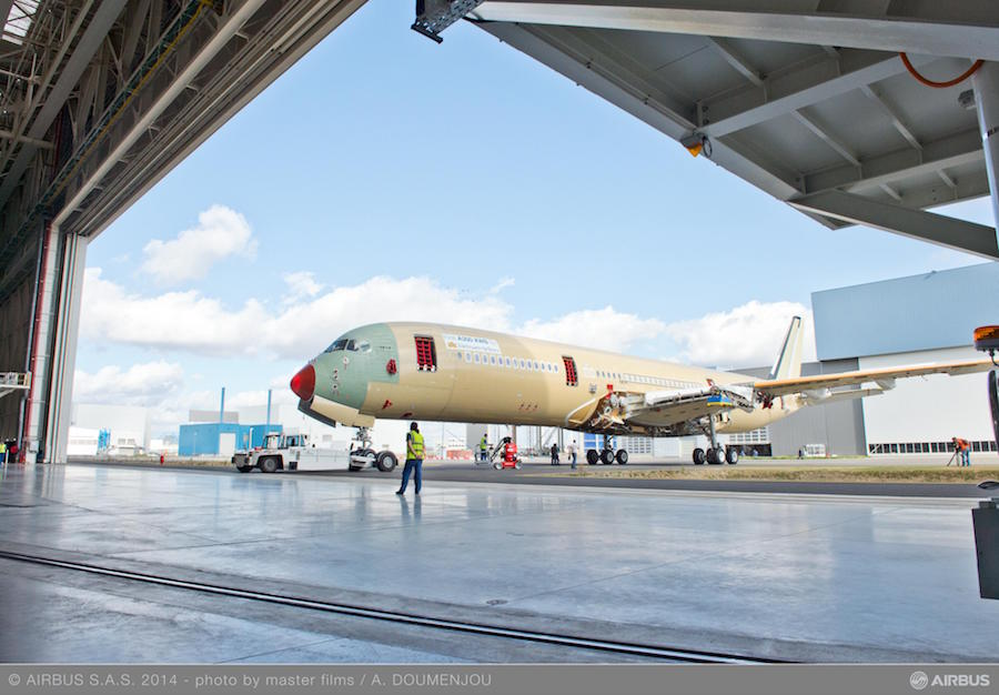 An A350XWB being moved within Airbus' manufacturing facility in Toulouse (Photo provided by Airbus)