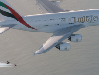 This photo was taken as a screenshot from the Emirates #HelloJetman video