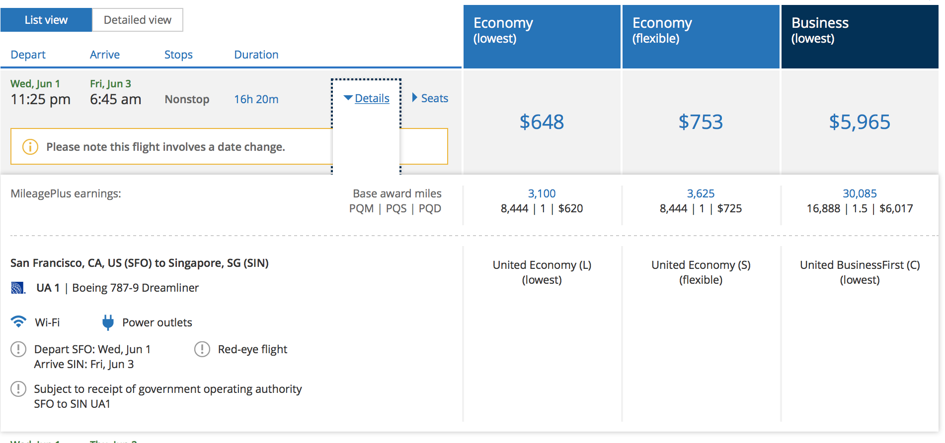 The current pricing for the new route (Image taken as a screenshot from united.com)