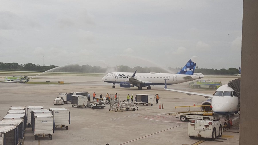 A water canon salute for the first scheduled flight to Cuba in 50 years (Photo: Daniel Morley)