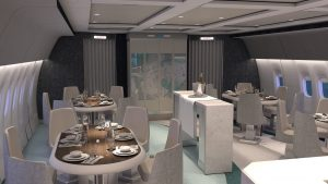 The social dining area on Crystal's 777-200LR (Photo: Crystal Cruises)