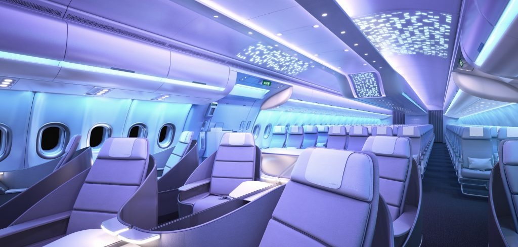 Picture of the Airspace cabin that will be on the A330neo from Airbus Ambience. Picture from Airbus.