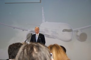 Picture of Tom Enders, Airbus Group CEO giving a speech at the event also.