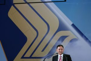 Singapore Airlines CEO Goh Choon Phong speaking at the Airbus Delivery Center, Toulouse - Picture by James Field.