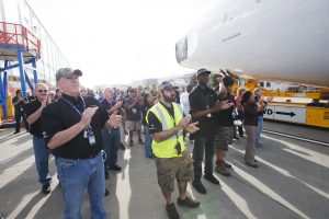 Sections of Boeing's 787-10 move to the final assembly building in Charleston with celebrating employees (Photo: Boeing)