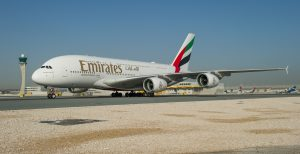 The world's largest passenger aircraft touches down in Doha (Photo: Emirates)