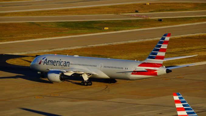 An American Airlines 787-9 Dreamliner taxis at Dallas  Fort Worth International Airport