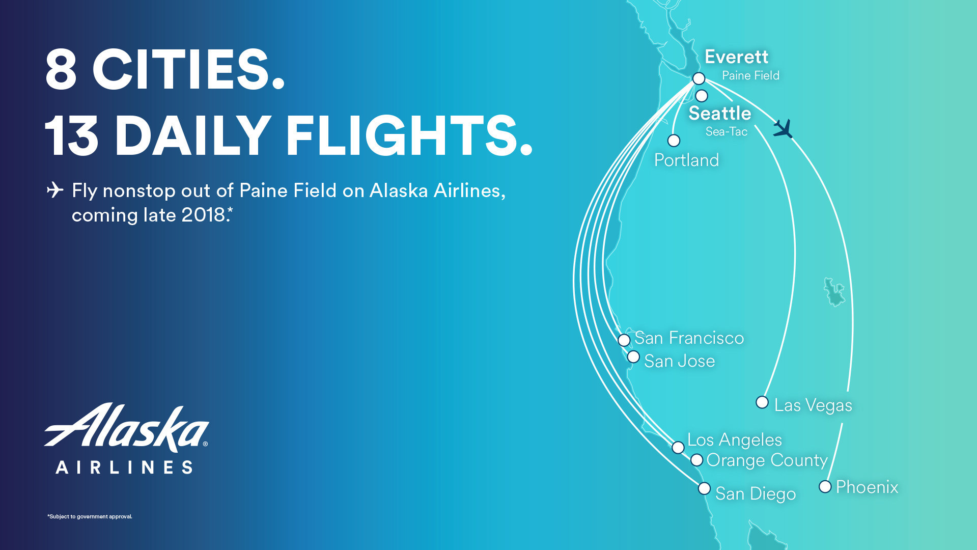 Alaska Airlines announces eight non-stop routes from Paine Field