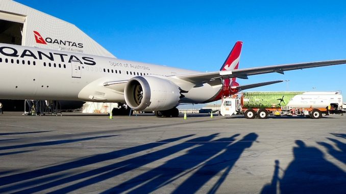 Qantas Launches First U S  to Australia Flight Powered by