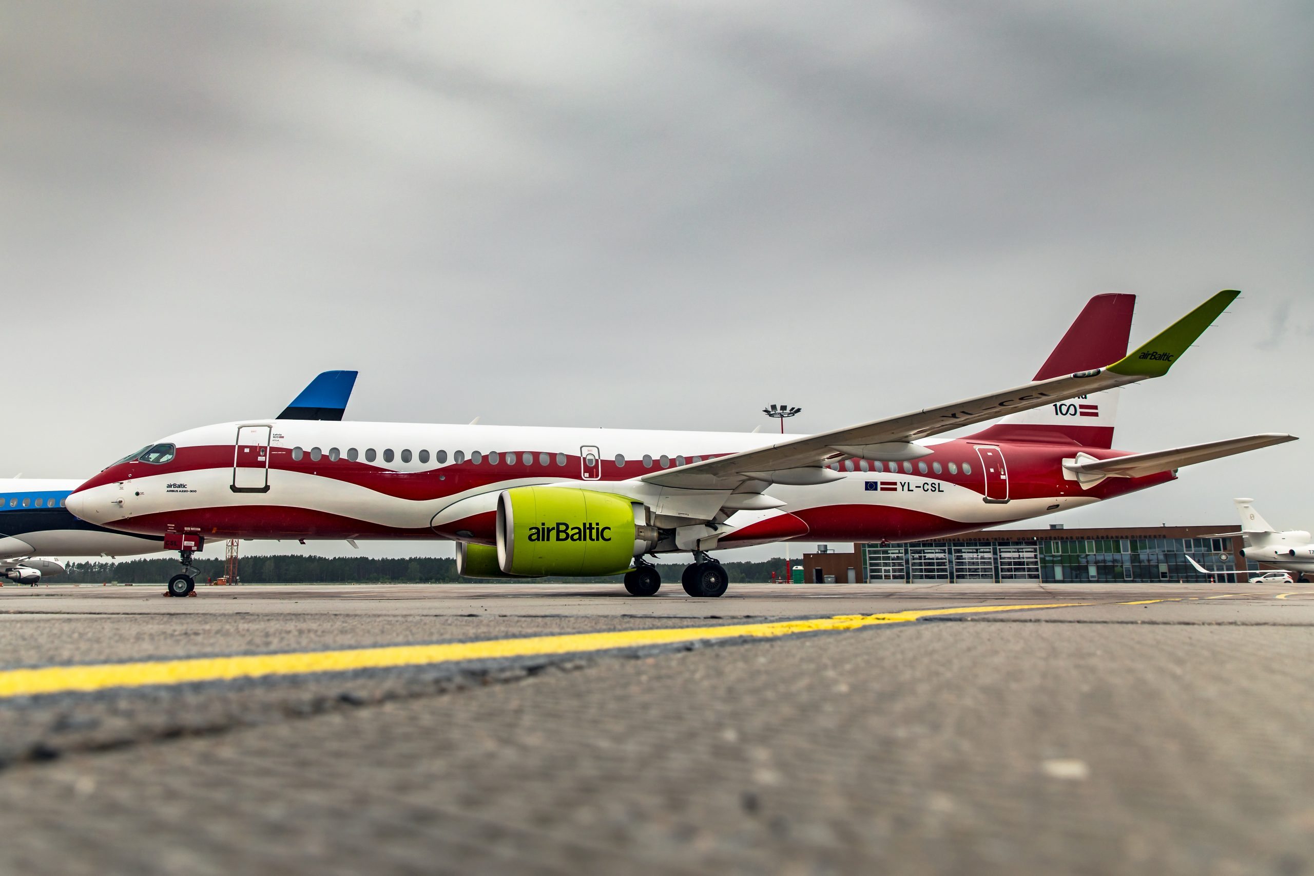 Air Baltic Airbus a220 Latvian flag