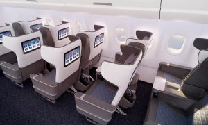A rendering of the Delta Airbus A321neo's first class cabin. Photo: Delta Airlines
