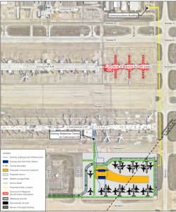 A proposed layout of Dulles International Airport's new concourse.