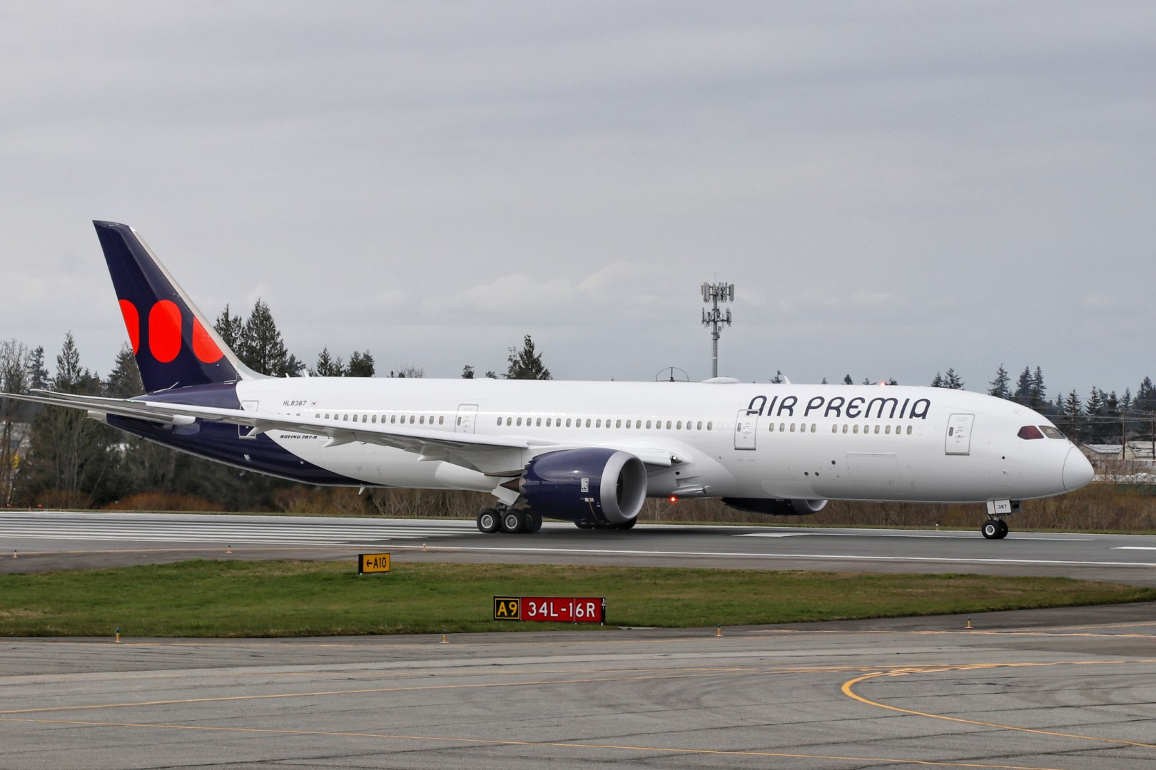 An Air Premia takes off for its delivery flight from Everett, Wash. to Seoul's Incheon International Airport.